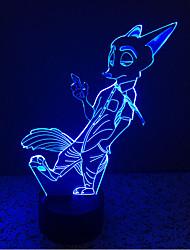 ræv støt dæmpning 3d førte natlys 7colorful dekoration atmosfære lampe nyhed belysning christmas lys