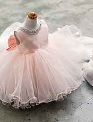 cheap -Ball Gown Short / Mini Flower Girl Dress - Tulle Sleeveless Jewel Neck with Beading by YDN
