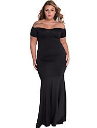 cheap -Women's Off The Shoulder  Black Plus Size Off Shoulder Fishtail Maxi Dress
