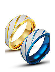 cheap -Men's Rings Personality Titanium Steel Ring Blue Gold Band Ring for Men Fashion Jewelry Gift