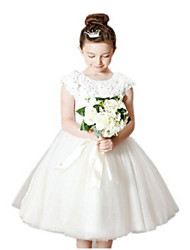 Ball Gown Tea Length Flower Girl Dress - Tulle Short Sleeves Jewel Neck with Appliques Bow(s) Lace Sash / Ribbon by LAN TING BRIDE®