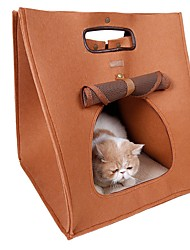Cat Carrier & Travel Backpack Pet Carrier Portable Breathable Solid Brown Gray Fabric