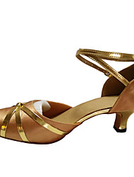cheap -Women's Dance Shoes Belly/Latin/Samba Satin/Leatherette/Patent Leather/Synthetic Cuban Heel Black/Blue/Red/Gold/