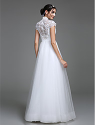 cheap -A-Line Plunging Neck Floor Length Lace Bodice Made-To-Measure Wedding Dresses with Pattern by LAN TING BRIDE®