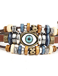 cheap -Punk Men's Bracelet PU Leather Bracelet Evil Eye Charm Multilayer for Men Fashion Jewelry Christmas Gifts