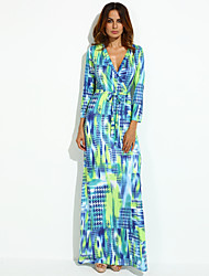 cheap -Women's A Line Dress Split Print Maxi V Neck