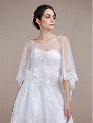 Women's Wrap Capes Sleeveless Lace / Tulle Ivory Wedding / Party/Evening Bateau Lace Pullover
