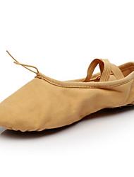 abordables -Femme Chaussures de Ballet Toile Plate Intérieur / Professionnel Lacet Talon Plat Non Personnalisables Chaussures de danse Chameau