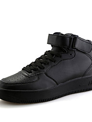 Men's Sneakers Comfort Microfibre Spring Fall Casual Comfort Lace-up Flat Heel White Black Ruby 3in-3 3/4in