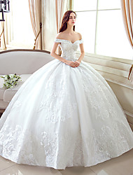 cheap -Ball Gown Off-the-shoulder Floor Length Lace Tulle Wedding Dress with Pattern by Yuanfeishani