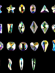 cheap -10PCS Nail Art  Flat Many Aspects Special-Shaped Diamond AB Iridescence Nails ShanZuan 12 Style Optional