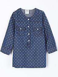abordables -Robe Fille Quotidien Points Polka Coton Automne Bleu de minuit Bleu clair