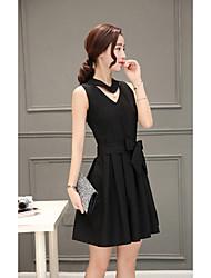 Mujer Línea A Vestido Trabajo Simple,Un Color Escote en Pico Sobre la rodilla Sin Mangas Blanco / Negro / Verde / Naranja / Morado