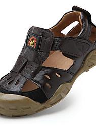 Boys' Sandals Leather Summer Outdoor Flat Heel Brown Blue Khaki Flat