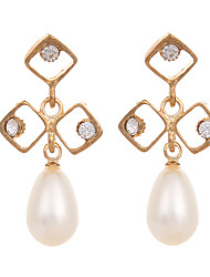cheap -European Style Gold Plated Earrings for Women White Pearl Rhinestone Earings Korea Fashion Jewelry