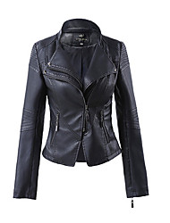 Women's Casual/Daily Simple Spring Fall Leather Jacket,Solid V Neck Long Sleeve Regular PU