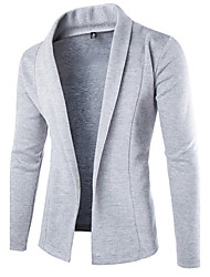cheap -Men's Long Sleeves Cardigan - Solid Colored Shirt Collar