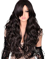 cheap -Synthetic Hair Wigs Natural Wave Side Part With Bangs Carnival Wig Halloween Wig Capless Wig Long Dark Brown