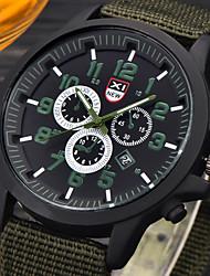 Herren Militäruhr Armbanduhr / Quartz Leder Band Bequem Schwarz