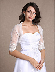 Women's Wrap Shrugs Half-Sleeve Lace / Tulle Ivory Wedding / Party/Evening / Casual Scoop Draped / Lace Open Front