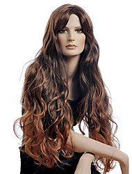 cheap -Long Style Sexy Wave Women Wig Guleless Dark Brown Color Synthetic Wigs