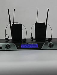 UHF Wireless Microphone System DJ Karaoke 2 Lapel 2 Headset microphone (2 Bodypack Transmitter)