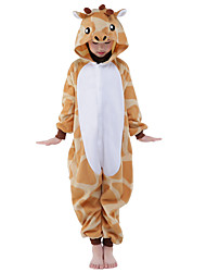 cheap -Kigurumi Pajamas Giraffe Onesie Pajamas Costume Flannel Toison Orange Cosplay For Kid Animal Sleepwear Cartoon Halloween Festival /