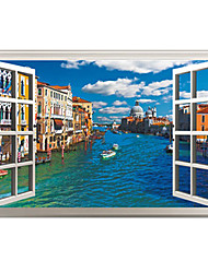 cheap -3D False Window Design Venice City Landscape 3D Wall Stickers Fashion PVC Living Room Bedroom Wall Decals