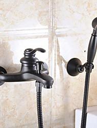 abordables -Moderne Montage mural Douchette inclue Soupape céramique 2 trous Mitigeur deux trous Bronze huilé, Robinet lavabo