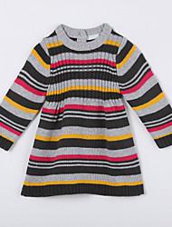 preiswerte -Pullover & Cardigan Alltag Gestreift Baumwolle Herbst Grau