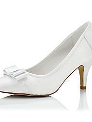 Feminino-Saltos-Conforto-Salto Agulha-Branco-Seda-Casamento / Social / Festas & Noite
