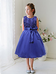 A-Line Knee Length Flower Girl Dress - Satin Tulle Sleeveless Jewel Neck with Applique by YDN
