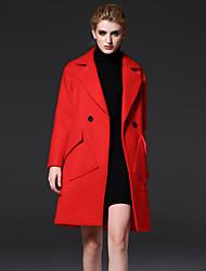 baratos -médio das mulheres frmz formal de inverno manga longa coatsolid entalhe lapela simples vermelho / amarelo de lãs / poliéster