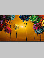cheap -Hand-Painted Floral/Botanical Horizontal, Modern Canvas Oil Painting Home Decoration One Panel
