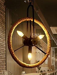 American Country Vintage Wrought Iron Chandelier Rope Wheel High Quality