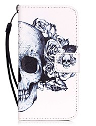 economico -Custodia Per Apple iPhone X iPhone 8 iPhone 6 iPhone 7 Plus iPhone 7 Porta-carte di credito Fantasia/disegno Integrale Teschi Resistente