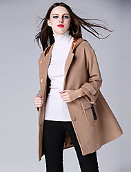 cheap -Women's Going out / Daily / Formal Casual CoatSolid Round Neck Long Sleeve Fall / Winter Brown Wool