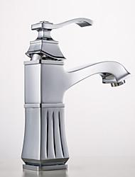 salle de bains robinet d'évier en laiton antique poignée simple Centerset
