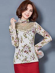 baratos -Mulheres Tamanhos Grandes Blusa - Para Noite Moda de Rua Renda, Floral Algodão Gola Alta