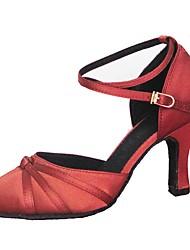 Damer Latin Moderne Satin Sandaler Hæle Professionel Indendørs Flæser Personligt tilpassede hæle Gul Rød Personligt tilpasset hæl Kan