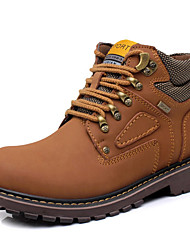 Men's Boots Fashion Boots / Bootie Cowhide / Leather Casual Flat Heel Lace-up Brown / Yellow / Coffee