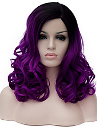cheap -Purple long curly hair and the wind nightclub performances Street color million with partial wig.
