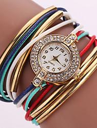 Недорогие -Жен. Модные часы Наручные часы Часы-браслет Кварцевый Цветной Стразы Имитация Алмазный PU Группа Винтаж Блестящие Богемные Повседневная