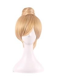Femme Perruque Synthétique Sans bonnet Court Raide Droit crépu Blonde Updo Coupe Carré Avec Frange Perruque de Cosplay Perruque Halloween
