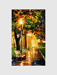 cheap -Hand-Painted Modern Street Scape PaintingsOne Panel Canvas Oil Painting