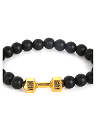 cheap -Beadia 1Pc 8mm Black Glass Beads Live Lift Dumbbell Strand Bracelet Christmas Gifts