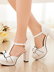 cheap -Women's Shoes Leatherette Summer Heels Chunky Heel Bowknot for Casual White Pink Light Blue