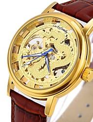Недорогие -CAGARNY Муж. Модные часы Часы со скелетом Наручные часы С автоподзаводом Натуральная кожа Черный / Коричневый С гравировкой Cool Аналоговый Роскошь Винтаж На каждый день - Золотой Серебряный