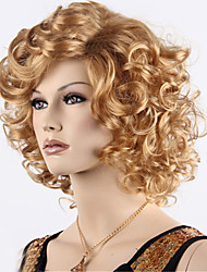 cheap -Synthetic Wig Curly With Bangs Synthetic Hair Ombre Hair / Side Part Blonde Wig Women's Short Capless