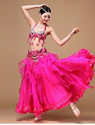 Danza del ventre Completi Per donna Da esibizione Chiffon Poliester Organza Paillettes Perline Con ruche Drappeggi Plissettato 3 pezzi